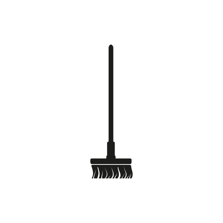 besom: Simple minimal single vertical black Broom besom icon symbol style on white
