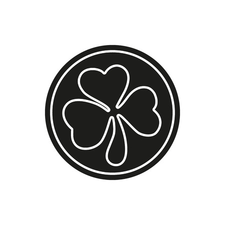three leaf clover: Simple black coin with three leaf clover. St. Patrick day symbol. Vector illustration