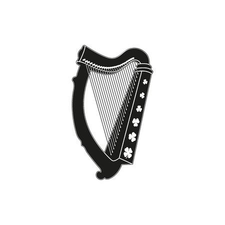 estilo negro simple o diseño. Símbolo del día de St Patrick - arpa con el trébol en un fondo blanco