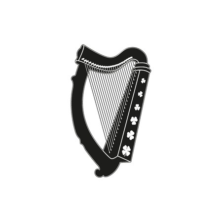 Simple black style or design. Symbol of  St Patrick Day - harp with clover on a white background