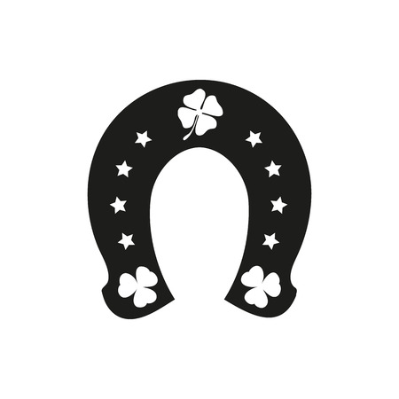 three leaf clover: Horseshoe and four or three leaf clover - lucky symbol on a white background Illustration