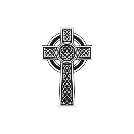Semplice croce celtica nera con dettagli su uno sfondo bianco Vettoriali