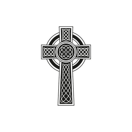 Simple black celtic cross with details on a white background Vector Illustration