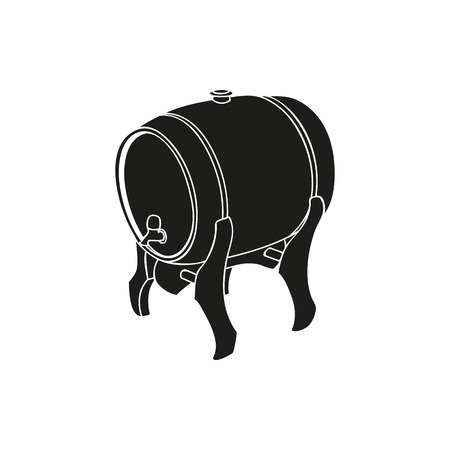 ale: Black keg of irish ale simple icon on white background Illustration