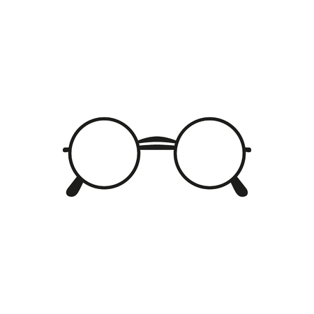 black and white: glasses simple black vector icon on white