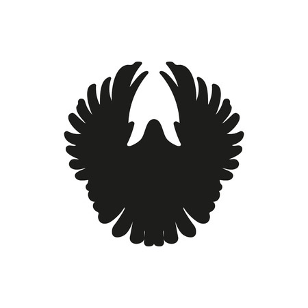rebirth: one single simple black front dove pigeon silhouette icon, vector on a white background
