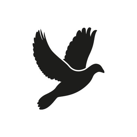 Einfache Schwarz eine einzige fliegende Taube Seite Silhouette Symbol auf weißem Vektorgrafik