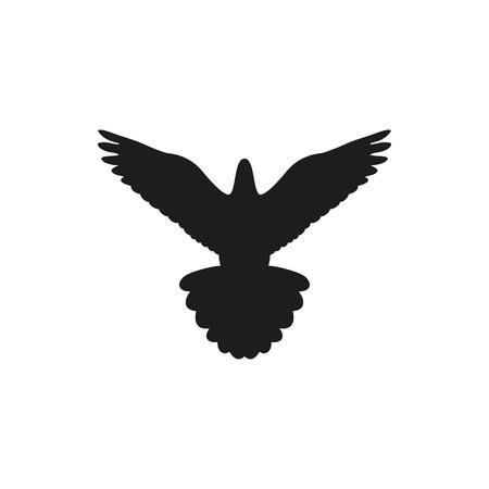 aloft: Simple black bird pigeon isolated style, logo on white