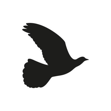 quick drawing: Black icon of a flying Dove to the side on a white background