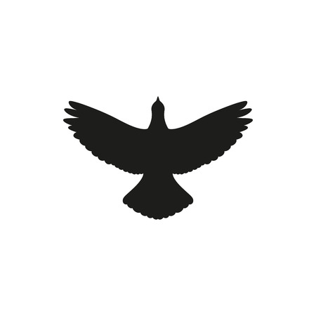 aerial animal: Simple black one single silhouette icon flying up bird dove pigeon. Vector Illustration