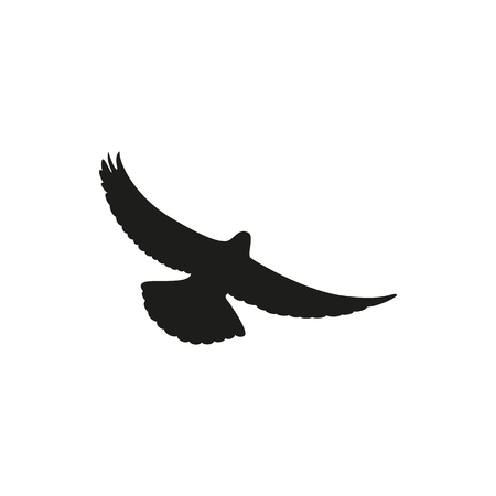 wingspan: Simple black one dove symbol. Wingspan is pigeon on a white background