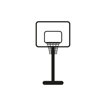 backboard: Simple black basketball backboard icon on white