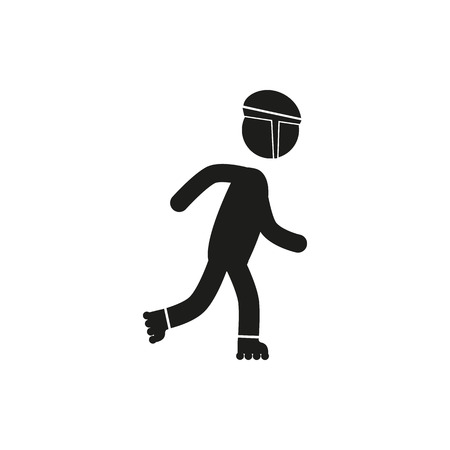 aspirational: Roller skating silhouettes vector icon on white background stick figure