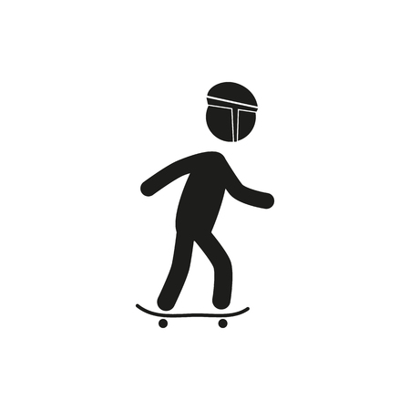 trendy male: Vector male man riding skateboard illustration in simple trendy style stick figure on white