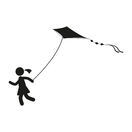 blessedness: girl with kite, black and white, on the wind, blowing Illustration