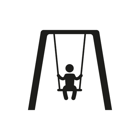 swinging: Boy swinging on a swing in the park silhouette vector illustration on white