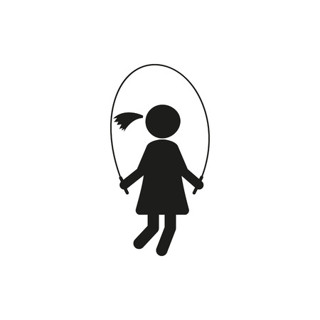 rope vector: Silhouettes girl, jumping rope vector stick figure on white background