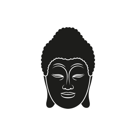 mantra: Black head of Buddha with Om mantra isolated on white background. Elements for company logos, print products, page and web decor. Vector illustration.