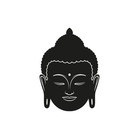 Black head of Buddha with Om mantra isolated on white background. Elements for company logos, print products, page and web decor. Vector illustration.