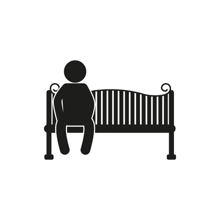 park bench: silhouettes of man and woman sitting on the park bench - vector on white Illustration