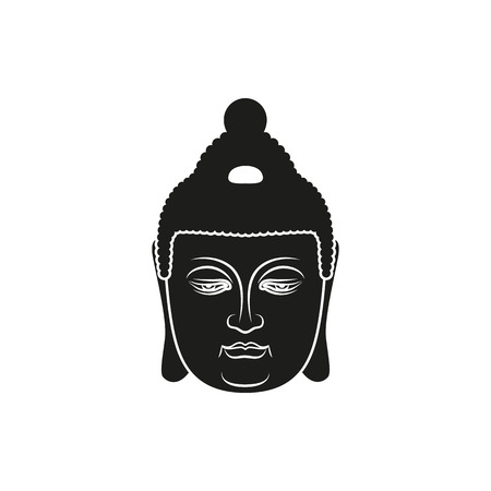 nirvana: Buddha face. Black simple illustration on white background. Enlightenment and balance. Vector illustration for authentic design. Illustration