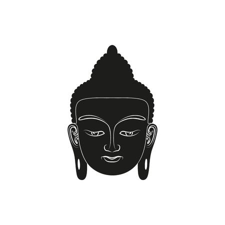 Head of Buddha. Simple black Vector illustration isolated on white Illustration