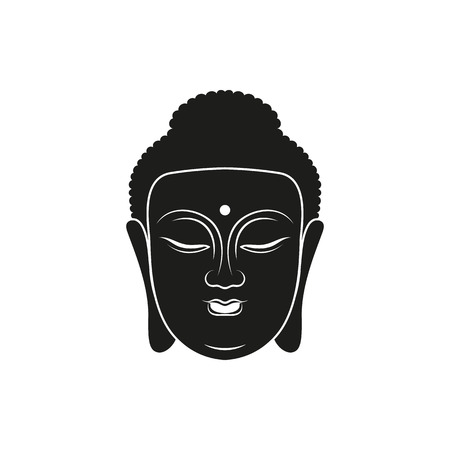 the vector simple black buddha head icon style on white background Illustration