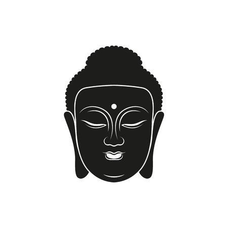 buddha head: the vector simple black buddha head icon style on white background Illustration