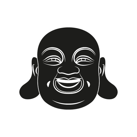 mantra: Black head of Fat Buddha with Om mantra isolated on white background. Elements for company logos, print products, page and web decor. Vector illustration. Illustration