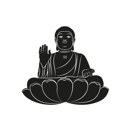 Black Tian Tan Buddha with Om mantra isolated on white background. Elements for company logos, print products, page and web decor. Vector illustration.