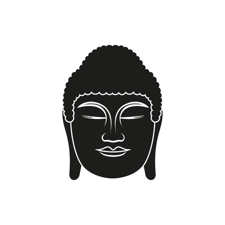 ancient philosophy: Buddha face. Black line illustration on white background. Enlightenment and balance. Vector illustration for authentic design. Illustration