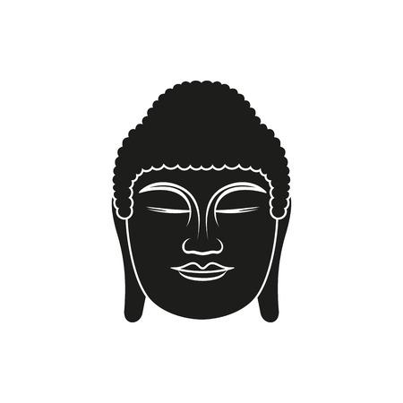 enlightenment: Buddha face. Black line illustration on white background. Enlightenment and balance. Vector illustration for authentic design. Illustration