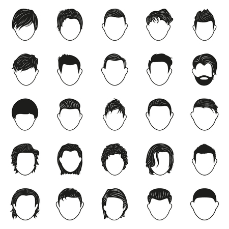 male face: Simple black men man male hairstyle black simple icons set vector illustration isolated on white background. Elements for company logos, print products, page and web decor. Vector illustration. Illustration
