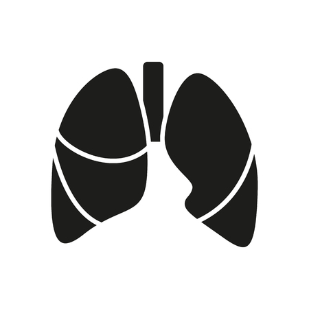 pulmones: Black simple Medical Lungs icon isolated on white background. Elements for company logos, print products, page and web decor. Vector illustration.