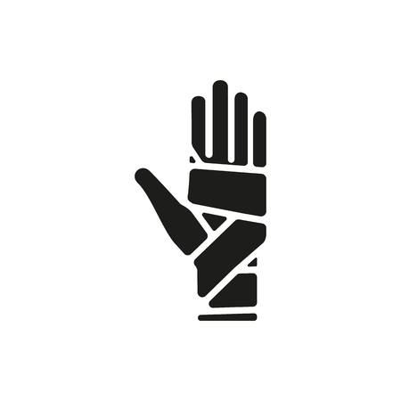 sprain: Black simple Medical Hand bandaging icon isolated on white background. Elements for company logos, print products, page and web decor. Vector illustration. Illustration
