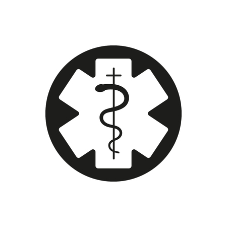 aesculapius: Medical symbol of the Emergency. Star of Life. Vector Illustration