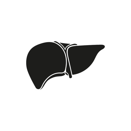 hepatology: Black simple Medical human liver icon isolated on white background. Elements for company logos, print products, page and web decor. Vector illustration. Illustration