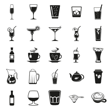 potable: Drink beverage potables potable drinkables simple black icon set on white