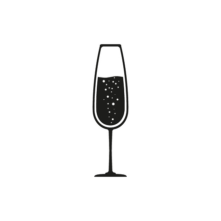 champagne celebration: Glass of champagne vector icon. Celebration or banquet alcohol drink symbol.