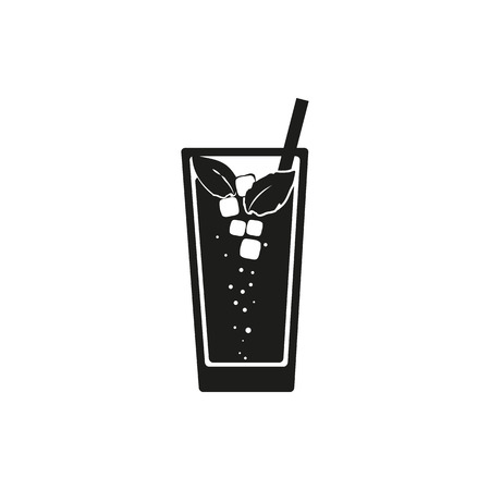 Simple black web icon Mojito on a white background. Vector illustration.