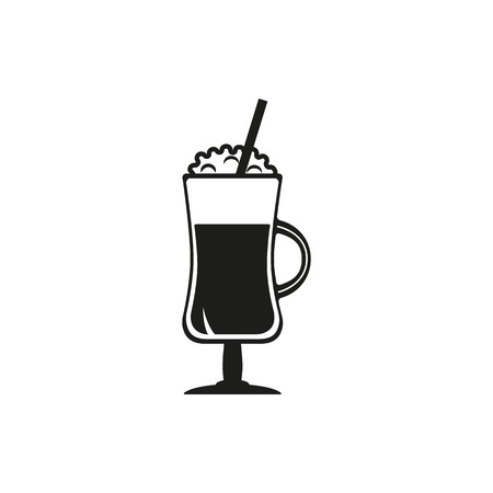 black coffee: Coffee cocktail vector icon set. Hot chocolate, latte, irish cream glass with cream on top. Simply black design sign on white background Illustration