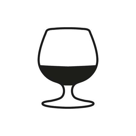 brandy: The glass with brandy icon. Brandy symbol. Simple black style or design Vector illustration on a white background