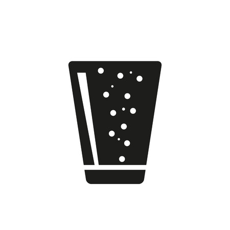 patch of light: Soda in simple black vertical glass icon with patch of reflected light