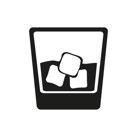Glass of whiskey with ice. Vector icon