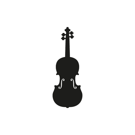 fiddles: Black simple acoustic violin or fiddle icon isolated on white background. Elements for company logos, print products, page and web decor. Vector illustration.