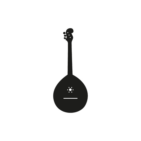 fret: Black simple acoustic domra icon isolated on white background. Elements for company logos, print products, page and web decor. Vector illustration.