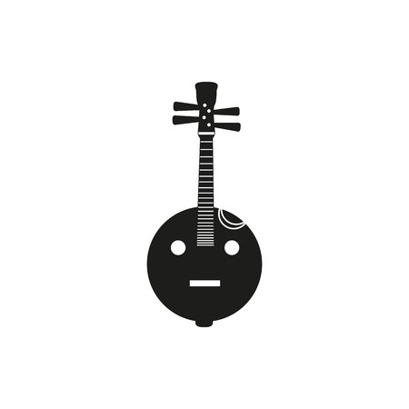 lute: Black simple acoustic lute icon isolated on white background. Elements for company logos, print products, page and web decor. Vector illustration.