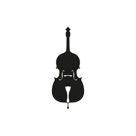 Cello in black - orchestra strings music instrument in vertical pose, Vector Illustration isolated on white background