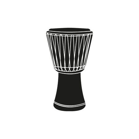 djembe: Black simple djembe icon isolated on white background. Elements for company logos, print products, page and web decor. Vector illustration.