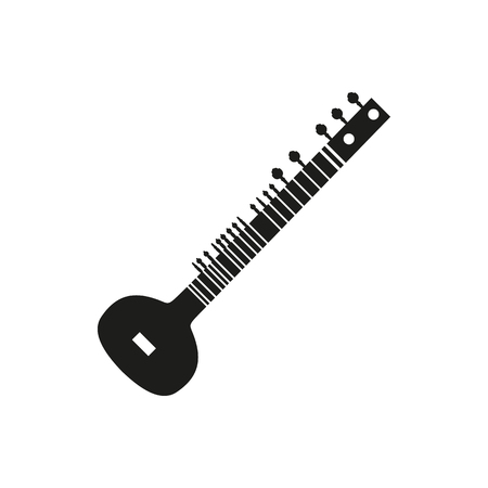 frets: Black simple acoustic sitar icon isolated on white background. Elements for company logos, print products, page and web decor. Vector illustration. Illustration